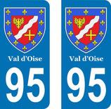 Lot de 2 Blasons Armoiries 95 Val d'Oise