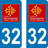 Lot de 2 adhésifs Occitanie Midi Pyrénées 32 Gers