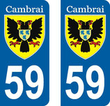 Lot de 2 stickers Ville de Cambrai