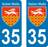 Lot de 2 stickers Blason de St Malo