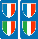 Lot de 2 stickers Blason France et Blason Italie coté gauche