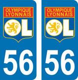 Lot de 2 stickers Olympique Lyonnais avec n° 56