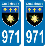 Lot de 2 stickers Armoiries de la Guadeloupe N° 971
