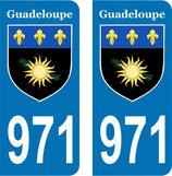 Lot de 2 stickers Armoiries de la Guadeloupe N° 971