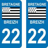 Lot de 2 adhésifs Bretagne 22 Côtes d'Armor