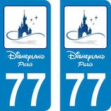 Lot de 2 stickers Château de Disney bleu avec texte et N° 77