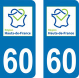 Lot de 2 stickers  Haut de France 60 Oise