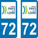 Lot de 2 adhésifs Pays de Loire 72 Sarthe
