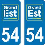 Lot de 2 adhésifs GRAND EST Lorraine 54 Meurte et Moselle