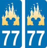Lot de 2 stickers Château Disney avec tête de Mickey au centre et N° 77