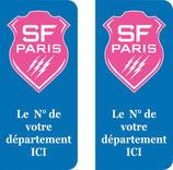 Lot de 2 stickers Stade Français nouveau logo Rose ,, n° au choix