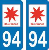 Lot de 2 adhésifs Ile de France 94 Val de Marne
