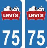 Lot de 2 stickers Snoppy LEVI'S avec n° 75