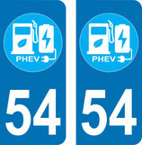 Lot de 2 stickers  PHEV avec N° 54