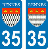 Lot de 2 stickers ville de Rennes