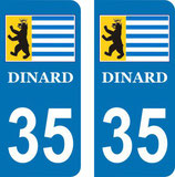 Lot de 2 stickers perso Blason de Dinard n°35