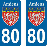 Lot de 2 stickers de la ville d'Amiens