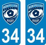 Lot de 2 stickers logo Rugby de Montpellier n° 34 et 2 stickers stade Rochelais n°17