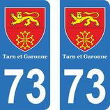 Lot de 2 stickers Blason Tarn et Garonne avec le n°73