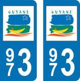 Lot de 2 adhésifs Guyane 973