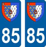 Lot de 2 Blasons Pays de Loire 85 Vendée