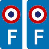 lot de 2 stickers  F et Cocarde tricolore