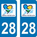 Lot de 2 stickers Centre Val de Loire 28 Eure et Loire