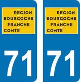 Lot de 2 adhésifs nouveau logo Bourgogne Franche Comté 71 Saone et loire