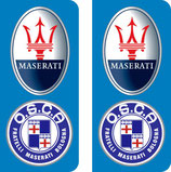 lot de 2 stickers logo Maserati et Osca