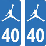 Lot de 2 stickers Jordan avec n° 40