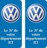 Lot de 2 stickers WV avec le n° de votre département