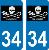 Lot de 2 stickers perso ave le logo Sea shepherd et N° 34