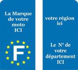 Lot de 2 stickers Motos, N° de département, région et marque de votre moto au choix.