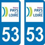 Lot de 2 adhésifs Pays de Loire 53 Mayenne