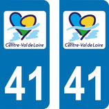 Lot de 2 stickers Centre Val de Loire 41 Loire et Cher