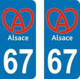 Lot de 2 stickers Logo de l'Alsace   67 bas rhin