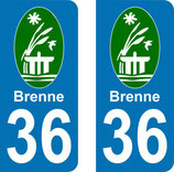 "Lot de 2 stickers de "" la Brenne "" Centre  36 Indre"