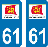 Lot de 2 stickers région Normandie n° 61 Orne