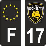 Lot de 2 stickers Stade Rochelais N° 17 chiffre blanc fond noir et 2 stickers europe fond noir