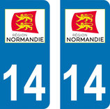 Lot de 2 stickers région Normandie n° 14 Calvados
