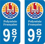 Lot de 2 stickers Logo rond Polynésie Française