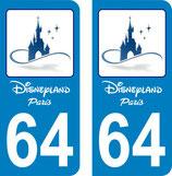 Lot de 2 stickers Disneyland Paris avec n° 64