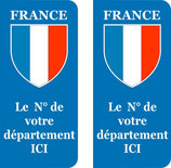 Lot de 2 stickers France et n° au choix