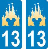 Lot de 2 stickers Château Disney tête de Mickey au centre avec n°13