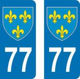 Lot de 2 Blasons Ile de France 77 Seine et Marne