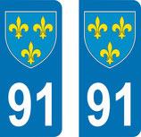 Lot de 2 Blasons Ile de France 91 Essonne