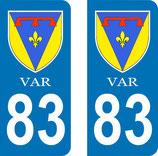 Lot de 2 stickers Blason du Var 83