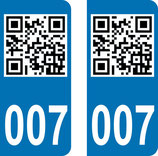 Lot de 2 stickers QR Code et n° 007