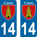 Lot de 2 stickers Ville de Caen