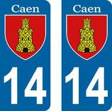 Lot de 2 stickers Ville de Caen